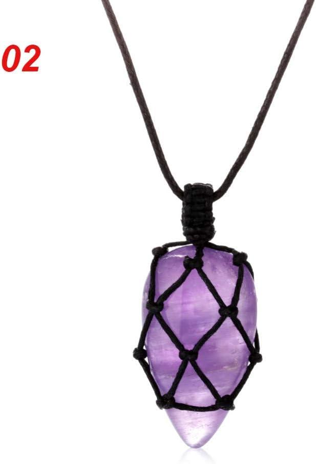 FyaWTM Collar Colgante Collar de Cadena de Cristal Colgante de Piedra Natural Joyería de macramé Accesorios Hechos a Mano Joyería de Moda