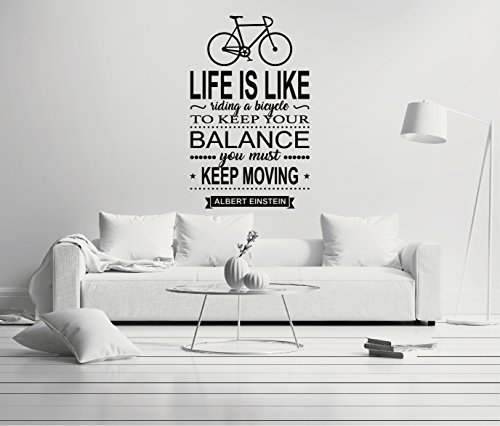 """e-Graphic Design Inc Life is Like Riding A Bicycle to Keep Your Balance. - Quote Mural Wall Decal for Home Bedroom Living Room(151) (Wide 35"""" x 56"""" Height)"""
