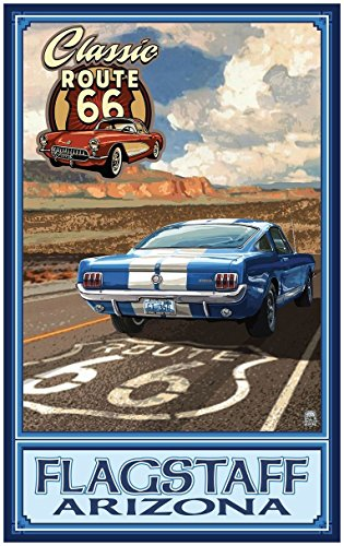 Flagstaff, Arizona Route 66 Mustang Travel Art Print Poster by Paul A. Lanquist (24