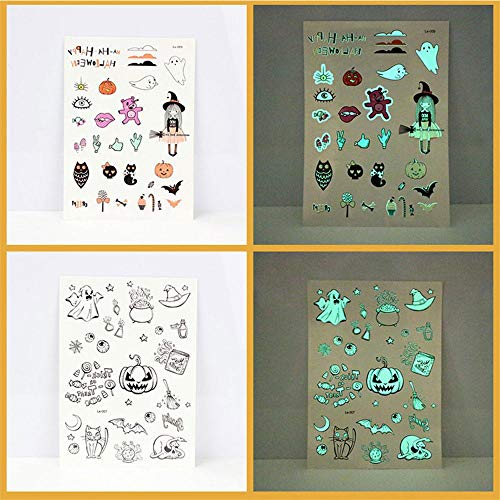 KathShop Halloween Decal Glow Tattoo Sticker Ghost Body Fake Tattoo Witch Luminous in Dark Waterproof Temporary Stickers Body Art Design