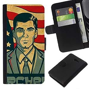 """A-type (Archor"""") Colorida Impresión Funda Cuero Monedero Caja Bolsa Cubierta Caja Piel Card Slots Para Sony Xperia M2"""