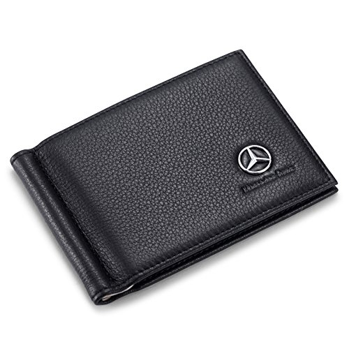 Mercedes Benz Bifold Money Clip Wallet with 6 Credit Card Slots - Genuine Leather
