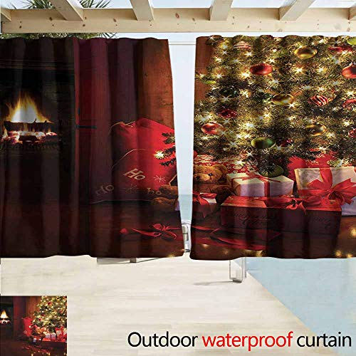 - AndyTours Outdoor Blackout Curtains,Christmas Xmas Scene Celebrations with Tree and Gifts by The Fireplace Artful Design Image,Rod Pocket Energy Efficient Thermal Insulated,W72x63L Inches,Red Yellow