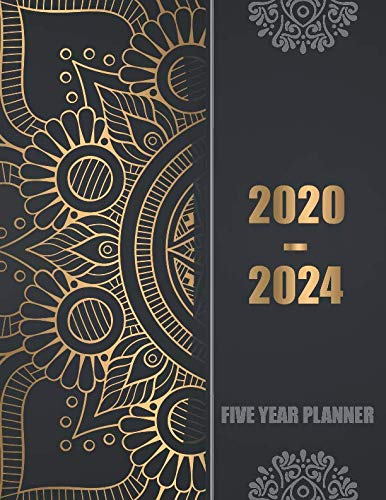 2020-2024 Five Year Planner: 60 Months Calendar, 5 Year Appointment Calendar, Business Planners, Agenda Schedule Organizer Logbook and Journal with golden black cover (2020-2024 Monthly planner)
