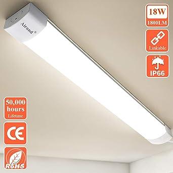 /Öuesen LED Batten Light 2ft 60CM Linkable LED Tube Light 18W IP66 Waterproof Ceiling Lights Fitting Natural White 4000K 1800LM Lamp for Bathroom Kitchen Garage Office and Store