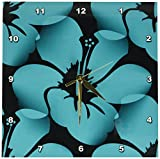 Cheap 3dRose dpp_59872_1 Teal Blue Tropical Hibiscus Flowers Floral Art Hawaiian Wall Clock, 10 by 10-Inch