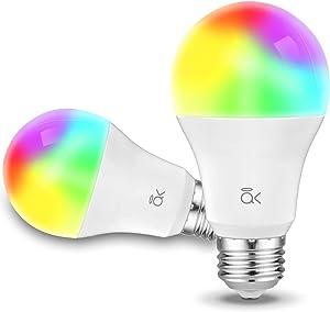 Smart Light Bulb, AL Above Lights Dimmable E26 9W Wi-Fi LED Smart Bulb, Works with Alexa, Echo, Google Home and Siri, Soft White (2700K), 60W Equivalent, 810 LM, RGB+W, ETL Listed - 2 Packs