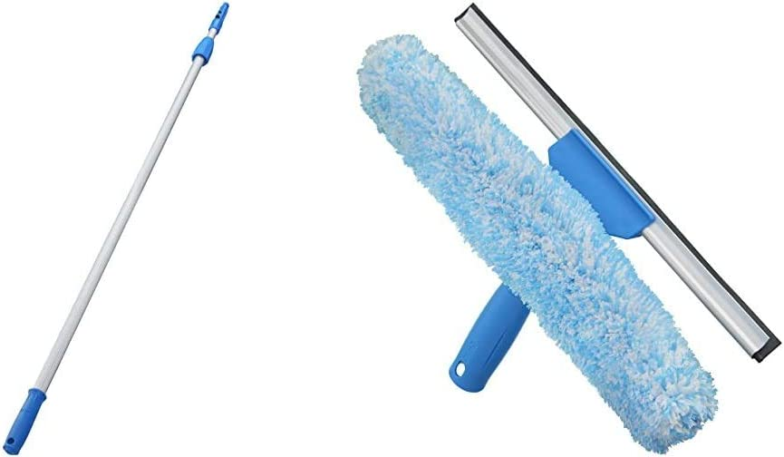 Unger Professional Connect & Clean 4-8 Foot Telescoping Extension Multi-Purpose Pole & Professional Window Cleaning Tool: 2-in-1 Microfiber Scrubber and Squeegee, 14""