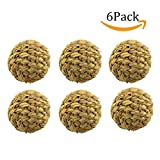 Moolon Woven Grass Play Ball for Rabbit Pet with Bell Natural Rabbit Chew Toys,6 pack