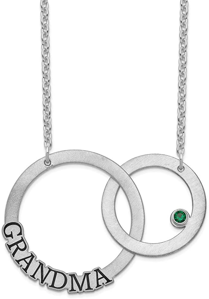 Solid 925 Sterling Silver 2 Ring Name and 1 Birthstone Pendant Necklace Charm Chain 18 Width = 36mm