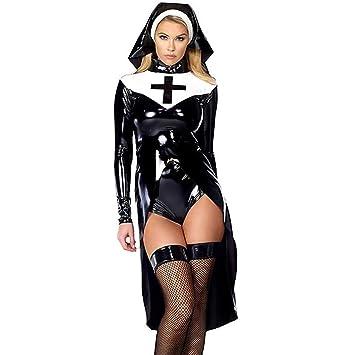 Cosplay de Halloween Moda Negro Mujer Traje de Monja Sexy ...