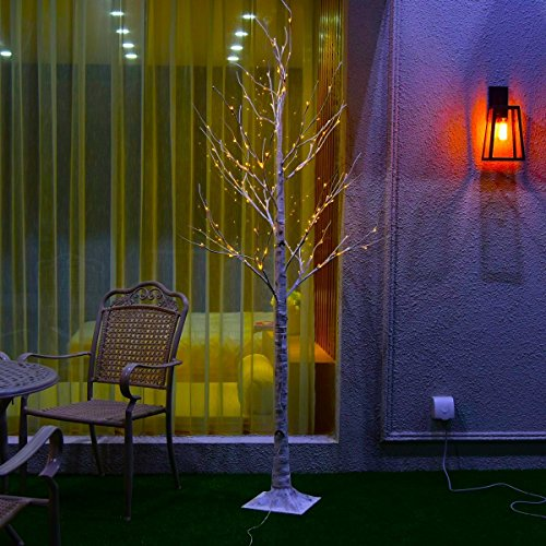 Excelvan 1.2M/4FT 48 LEDs Silver Birch Twig Tree Warm White Light White Branches for Home, Party, Wedding, Bar, Indoor Outdoor Decoration (HG-C002) (Wedding Tree Branches)