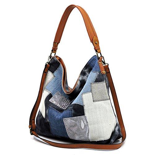 New Le Miel Denim Patchwork Zip-Top Hobo w/Strap- 5 colors (Denim Black)