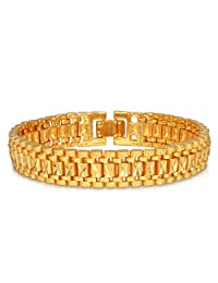 U7 Jewelry Fashion 18K Gold Plated Men's Women's Link Bracelet Carving Wistband, 12mm, 7.5-8 Inch
