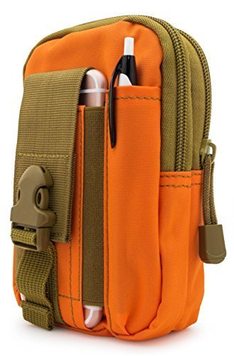 Bastex Universal Multipurpose Tactical Smartphone Orange w/Army Green Holster EDC Security Pack Carry Pouch Belt Waist Bag Gadget Money Pocket for iPhone 6s Samsung Galaxy S7 Note5 LG G5 iPhone 7 - Sm Clip Organizer