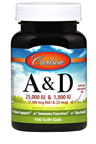 Carlson Labs Vitamin A and D, 25000/1000 IU, 250 Softgels by Carlson