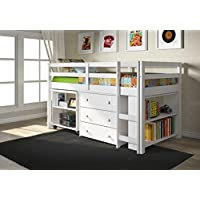 DONCO Kids 760-W Low Study Loft Bed, White