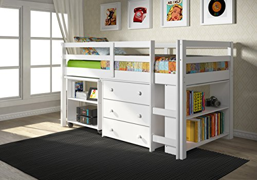 DONCO KIDS 760-W Low Study Loft Bed, White - Low Loft Bunk Bed