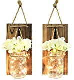 GRC2859 Wall Hung Mason Jar Sconce with Faux Flower and Led Strip Lights, Rustic
