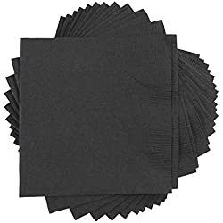 "JAM Paper Medium Lunch Napkins - 6 1/2"" x 6 1/2"" - Black - 50/Pack"