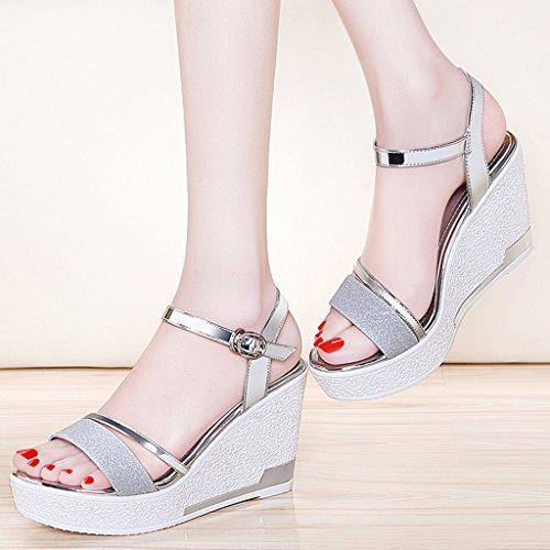 Silver pailleté Féminin Hauts Talons Sandales Tissu Chaussures Semelle PU de épaisse Pente Supérieur UHW4q7qTR