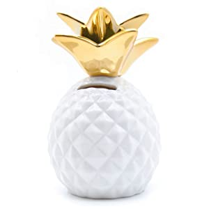 Pineapple Coin Piggy Bank Decorative Ceramic Pineapples Shaped Save Money Cans Cute Money Boxes for Pineapple Theme Party Decor Girls Kid's Children Adults Birthday Gifts (White)