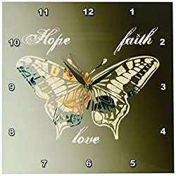 3dRose dpp_155872_1 Hope, Faith and Love Gold Butterfly Inspirational Art Wall Clock, 10 by 10-Inch