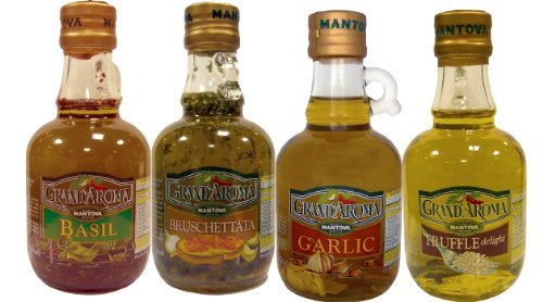 Mantova Flavored Extra Virgin Olive Oil Variety Pack: Bruschetta, Truffle, Garlic, Basil Authentic Italian EVOO, 8.5-Ounce Per Bottle (Pack of 4) Great Gift Item - Foods Basil Oil