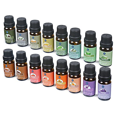 Lagunamoon Essential Oils,Premium Aromatherapy Oils Gift Set of 16- Peppermint Lemon Lavender Tea Tree Eucalyptus Rosemary Patchouli Orange Essential Oil Therapeutic Grade 10ml Each