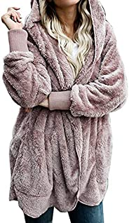 Zilcremo Women Fuzzy Cardigan Winter Hooded Jacket Open Front Fleece Coat Outwear with Pockets
