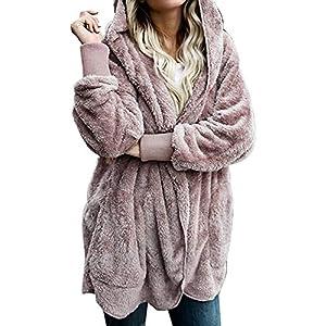 Zilcremo Mujer Lana Chaqueta Cárdigan con Capucha Frente Abierto Abrigo Fleece de Piel Sintética Invierno | DeHippies.com