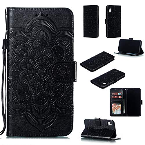 (Cfrau Wallet Case with Black Stylus for iPhone XR,Beautiful Mandala Sunflower Embossed PU Leather Magnetic Flip Stand Soft Silicone Card Slots Case with Wrist Strap - Black)