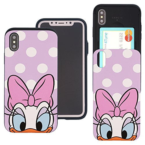 - iPhone Xs Case/iPhone X Case Cute Slim Slider Cover : Card Slot Dual Layer Holder Bumper for [ iPhone Xs/iPhone X (5.8inch) ] - Dot Daisy Duck