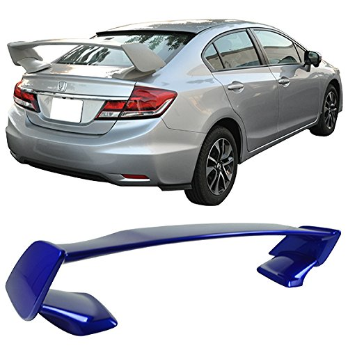 Pre-painted Trunk Spoiler Fits 2015-2019 Subaru WRX STI | Factory Style ABS Painted # K7X Wr Blue Pearl Trunk Boot Lip Spoiler Wing Deck Lid Other Color Available By IKON MOTORSPORTS | 2016 2017