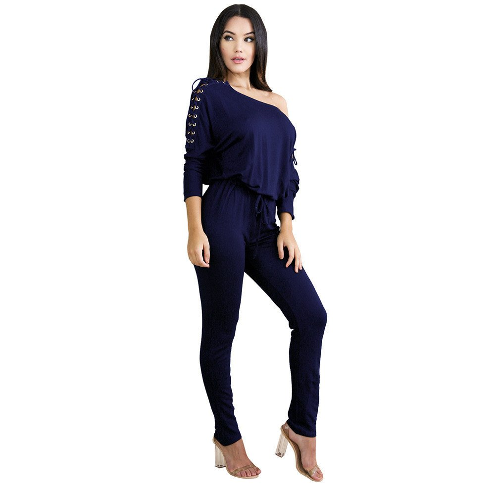 bf280e80cc53 Amazon.com  TIMEMEANS Womens Jumpsuit Sexy Overalls Long Sleeve Rompers  Summer Off Shoulder Royal Blue  Clothing