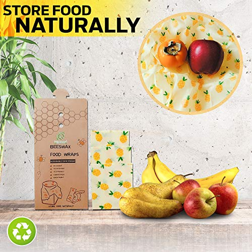 DINE NATURA, Beeswax Food Wrap (3-Pack) Reusable, Ecofriendly Wrapping Paper | Home, Kitchen, Fridge Use | Sustainable Storage Sheets | Small, Medium, Large | Easy to Clean