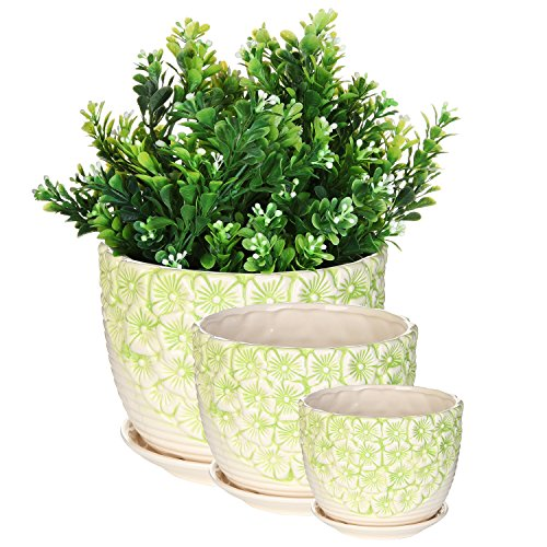 Flower Pots Nesting (MyGift Set of 3 Green & White Flower Design Nesting Ceramic Planter Pots/Plant Containers w/Attached Saucers)