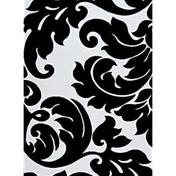 3459 Black White Damask 52 X 72 Modern Abstract Area Rug Carpet