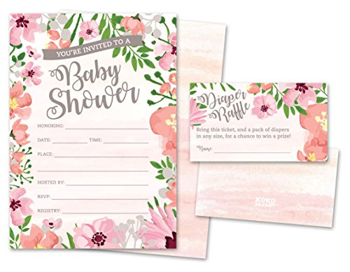 Baby Shower Invitations and Diaper Raffle Tickets. Set of 25 Pink Floral Fill In The Blank Style Cards, Envelopes, and Raffle Tickets. by Koko Paper Co