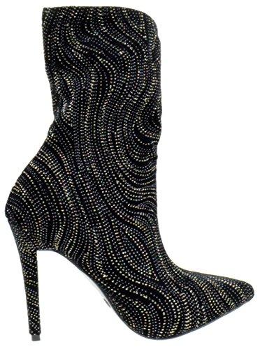 Stiletto Dedicate Anne Black Elastane Toe 48M Boots Pointy Glitter Michelle Womens 455wzrq0Z
