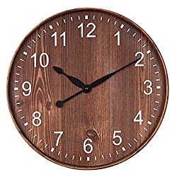 Topkey 12 Wooden Look Wall Clock Silent Non-Ticking Vintage Decorative Round Clock for Living Room, Bedroom and Office Battery Not Included - Dark Brown