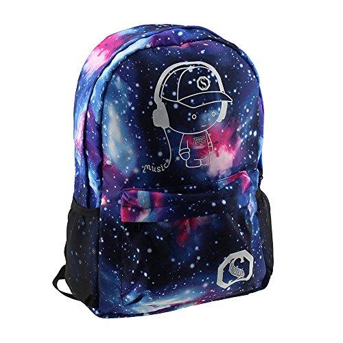 Escomdp Breathable Abrasion-resistance Fluorescent Backpack Starry Sky Design Children Students Bag 30 x 14 x 45 cm, 400 g (Star Boy) (G Star Kids)