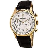 Bulova Mens Classic Brown Strap Rose Gold Accent Watch 97B148