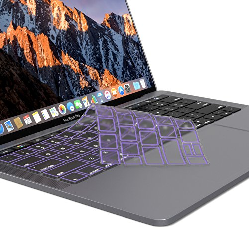Kuzy - MacBook Pro Keyboard Cover with Touch Bar 13 and 15 inch Premium Ultra Thin TPU New 2019 2018 2017 2016 (Apple Model A1989 A1990 A1706 A1707) Skin Protector - Purple (Keyboard Cover Macbook Purple)