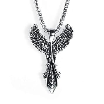 C- Collar de los Hombres - Acero Inoxidable Creativo alas ...