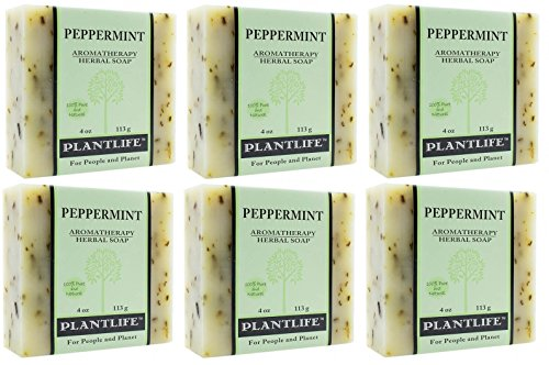 Peppermint Soap Value Pack - 100% Pure & Natural Aromatherapy Herbal Soap - 4 oz Each Bar (Pack of 6 Bars)