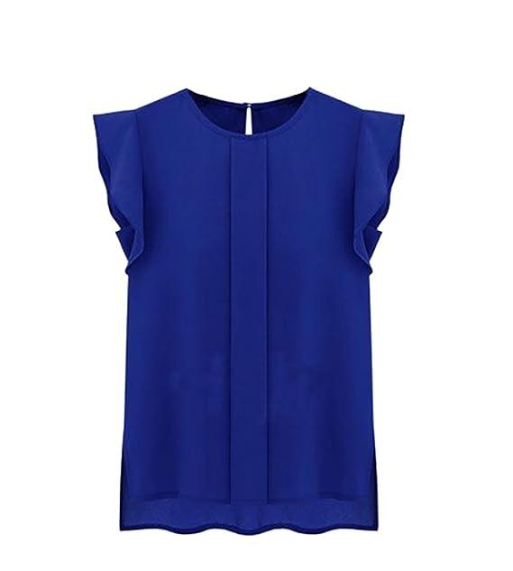 Freestyle Verano Tops Mujeres Casual Cuello Redondo Manga del Casquillo Blusa Camisa Joven Moda Colores Lisos Blouses T-Shirt Camisetas Remata: Amazon.es: ...