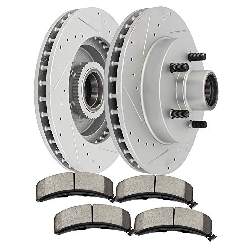 SCITOO Brake Kits, 2pcs Front Slotted Drilled Brake Discs Rotors and 4pcs Ceramic Disc Brake Pads Brakes Kit for 1995-2000 GMC Yukon Savana 1500 1994-2000 Chevrolet C1500,Suburban,Express