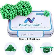 Neutronball Magnetic Sculpture Set 5mm 216 Pieces + 6 Spare (Multi Color), Magnet Building Blocks Desk Toy and