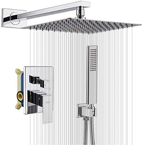Iriber Rain Shower System With 10 Inch High Pressure Ultra Thin Rain Shower Head And Handheld Bathroom Luxury Rainfall Polished Chrome Shower Set Included Shower Faucet Mixer Valve And Shower Trim Kit